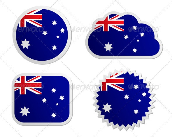 Australia Flag Labels - Web Elements Vectors