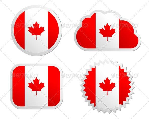 Canada Flag Labels - Web Elements Vectors