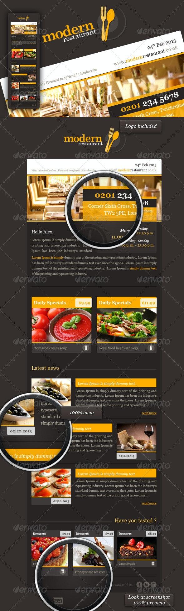 Modern Restaurant eNewsletter Template  - E-newsletters Web Elements