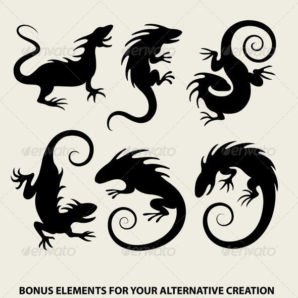 Iguana Silhouette Symbols