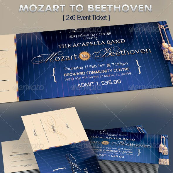 Mozart Beethoven Event Ticket Template