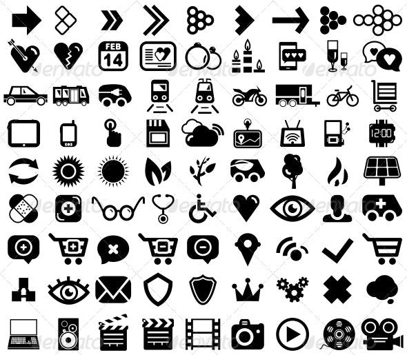Big set of black universal web icons - Web Elements Vectors
