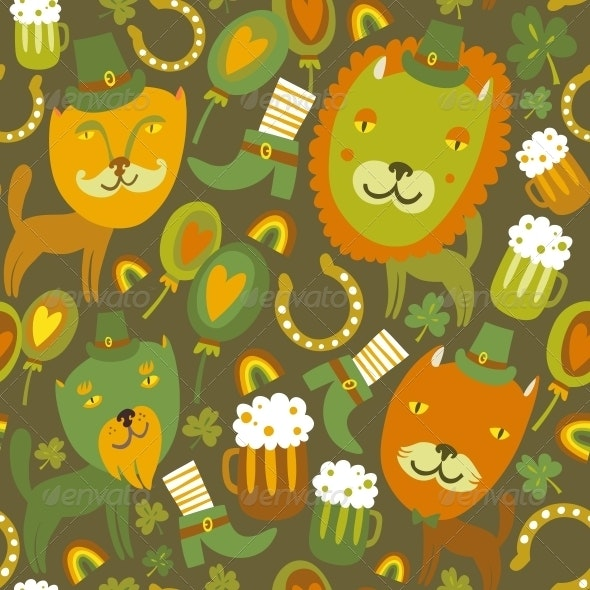 Seamless St.Patrick's day pattern with cats - Miscellaneous Seasons/Holidays