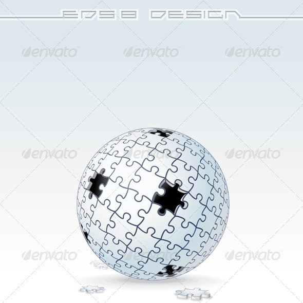 Jigsaw Puzzle Globe. Vector Image - Decorative Symbols Decorative