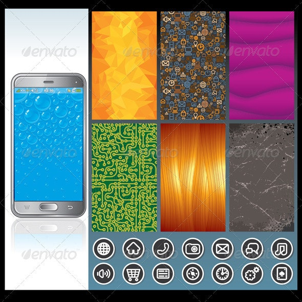 Smart Phone with Design Elements. Vector Graphics - Communications Technology