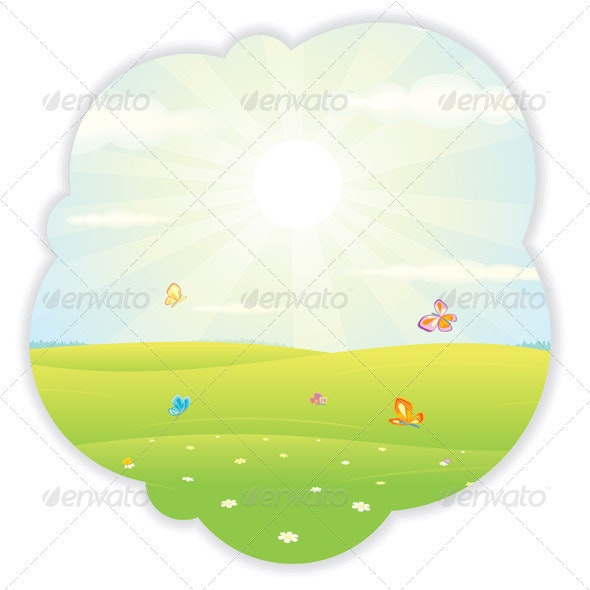 Sunny Summer. Vector Picture - Landscapes Nature