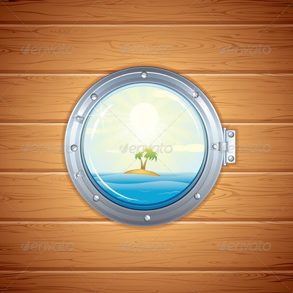 Illustration of Tropical Island from Porthole - Travel Conceptual