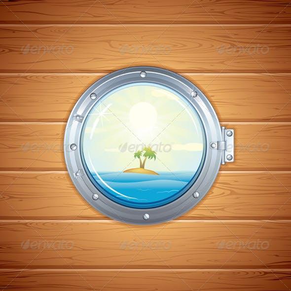 Illustration of Tropical Island from Porthole