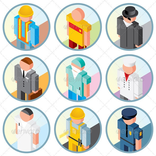 People Occupations Icons. Vector Clipart - People Characters