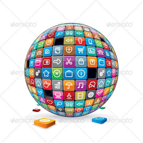 Globe from Apps Icons. Media Technology Concept - Media Technology