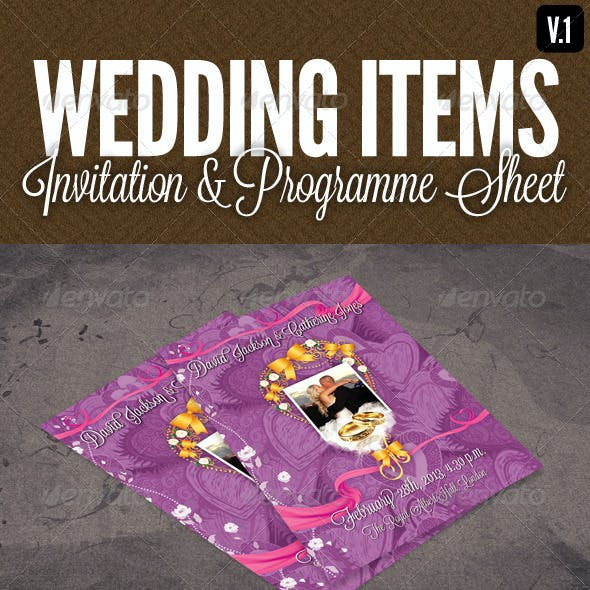 Wedding Items - Programme Sheet & Order of Service