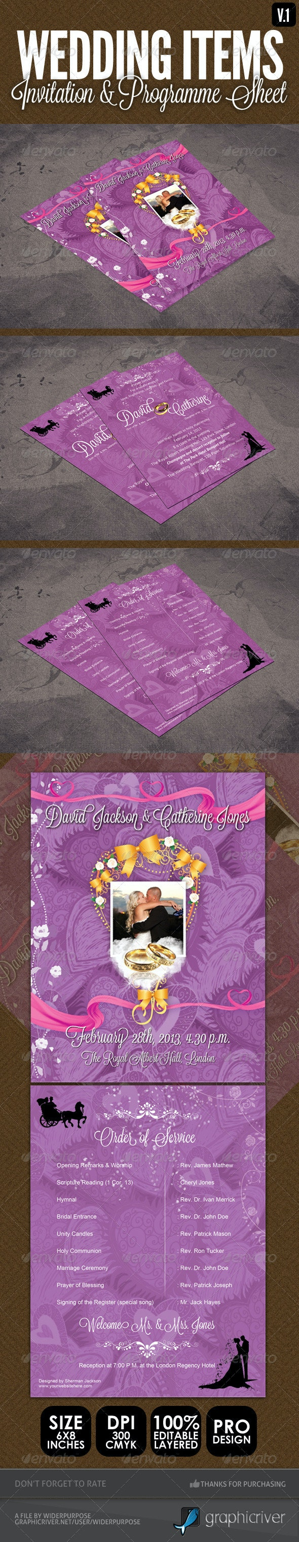 Wedding Items - Programme Sheet & Order of Service - Weddings Cards & Invites