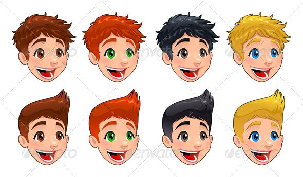 Faces of boys. - People Characters