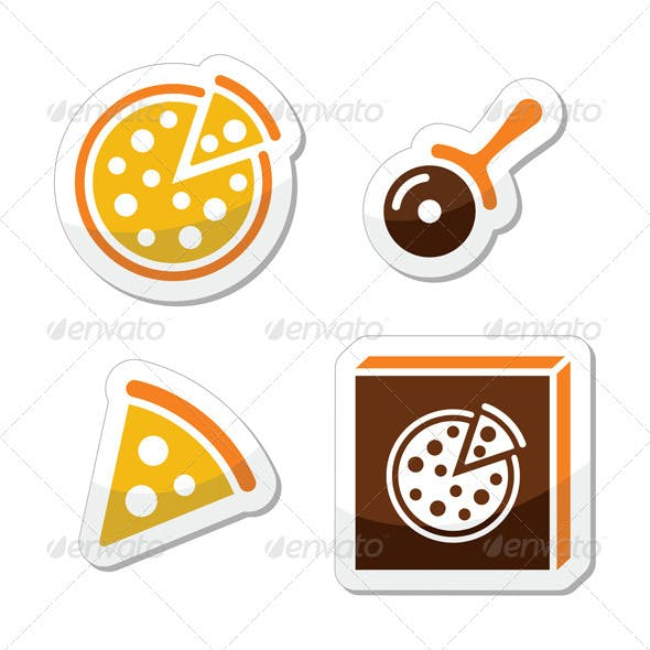 Pizza vector icons set isolated on white