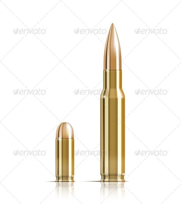 Ammunition bullets on white - Objects Vectors