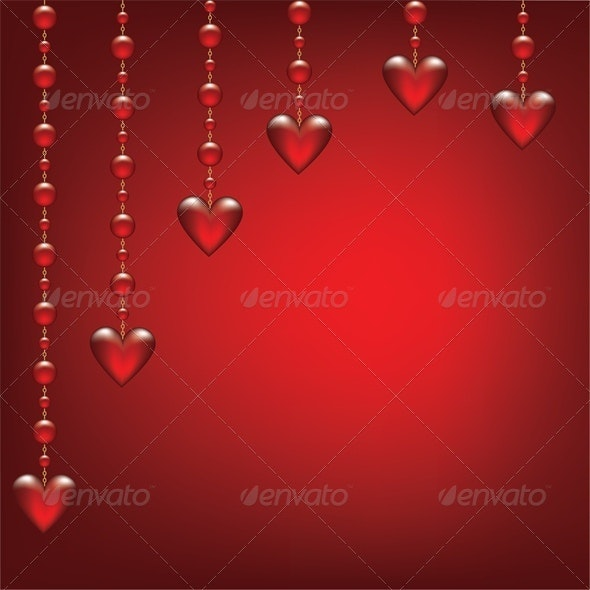 hearts on red background - Valentines Seasons/Holidays