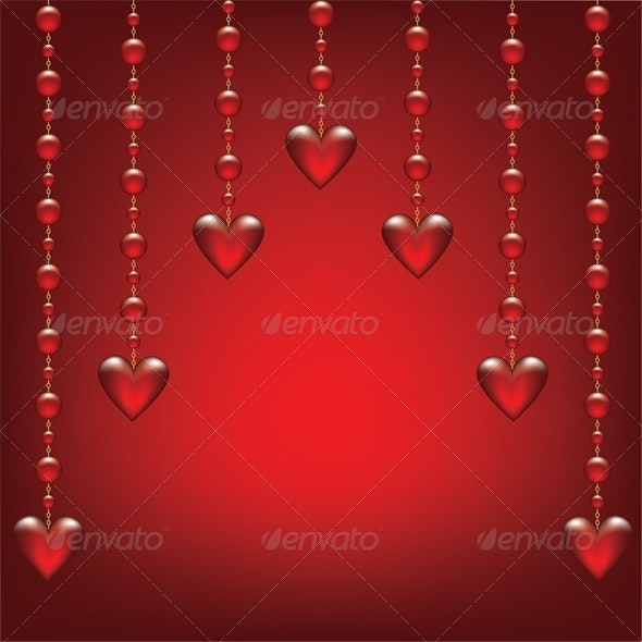 Valentines card with glass hearts - Valentines Seasons/Holidays