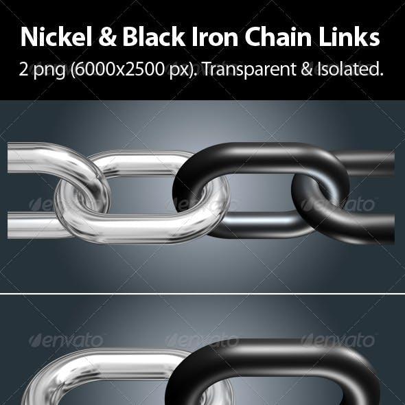 Nickel & Black Iron Chain Links