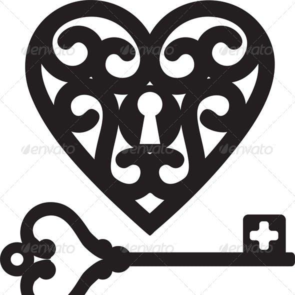 Lock Shaped Heart and Skeleton Key