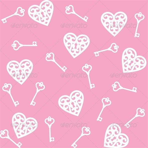 Lock Shaped Heart and Skeleton Key - Valentines Seasons/Holidays