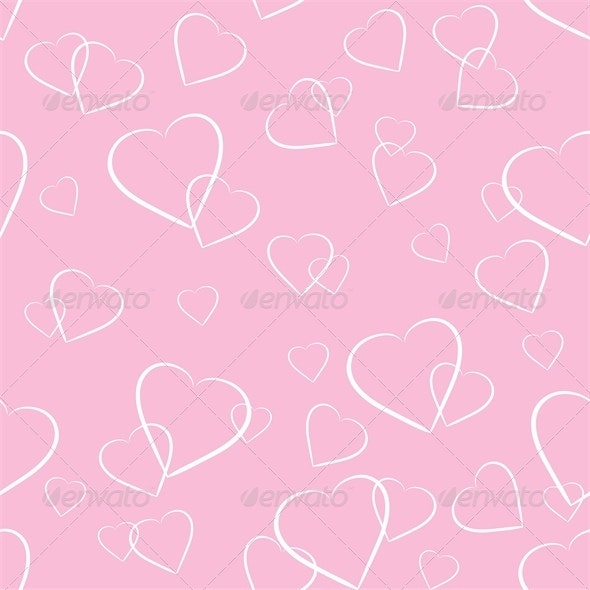 White Hearts on Pink Background - Valentines Seasons/Holidays