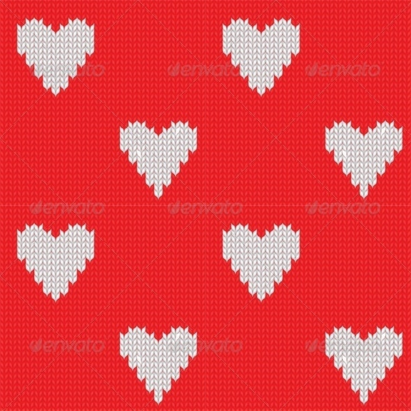 Seamless Knitted Background with Hearts - Valentines Seasons/Holidays