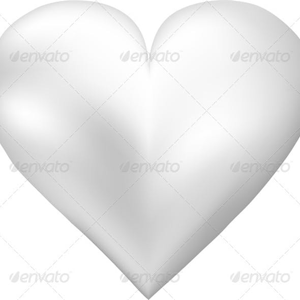 White Pearl Shaped Heart
