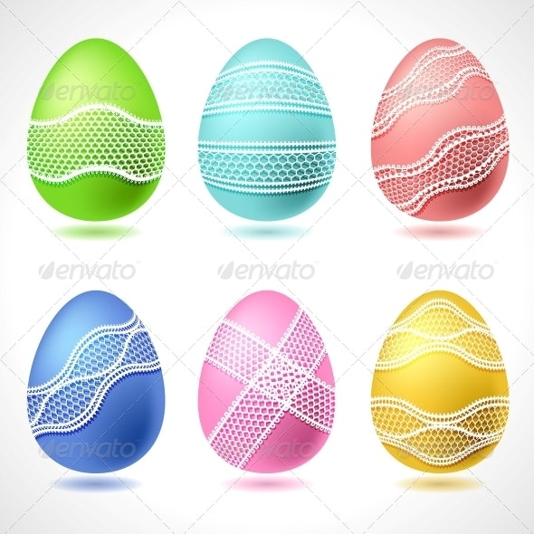 Set of 6 Vector Easter Eggs with Lace Ribbon. - Christmas Seasons/Holidays