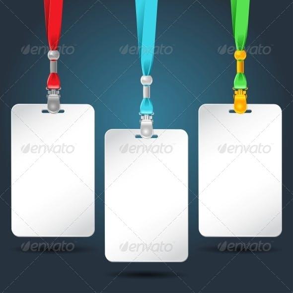 Set of Blank Badges with Color Neckbands.