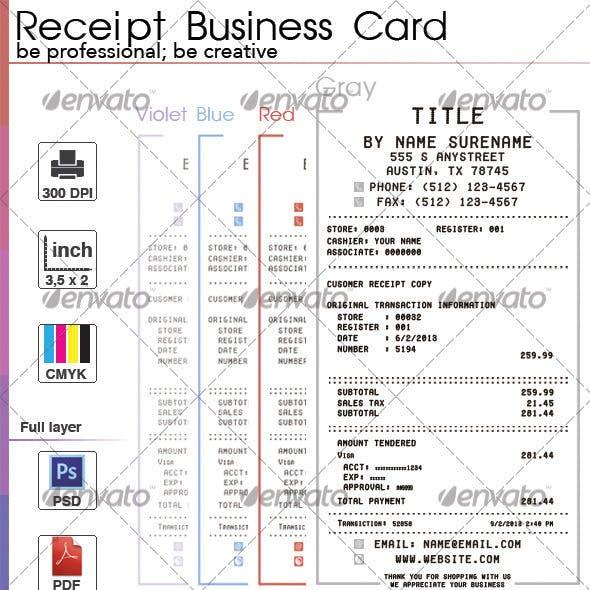 Receipt Business Card