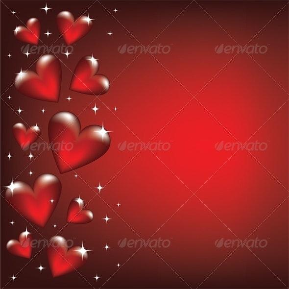 Valentine card with heart border - Valentines Seasons/Holidays