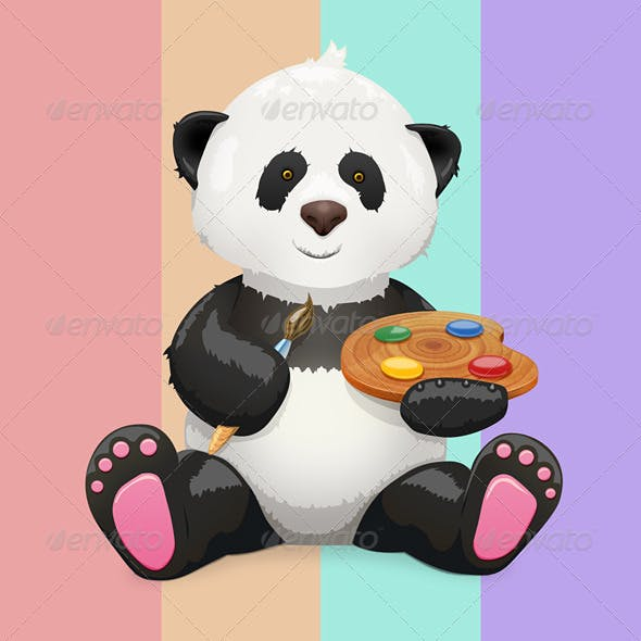 Panda Painter Maskot