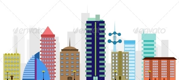 multi-colored vector city - Buildings Objects
