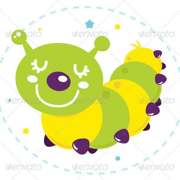 Cute Cartoon Caterpillar Isolated on White