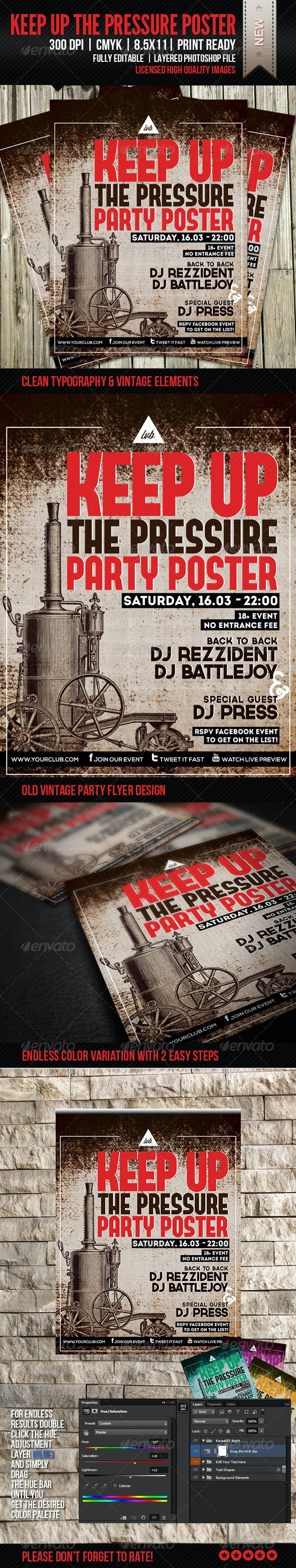 Keep Up The Pressure Party Poster - Clubs & Parties Events