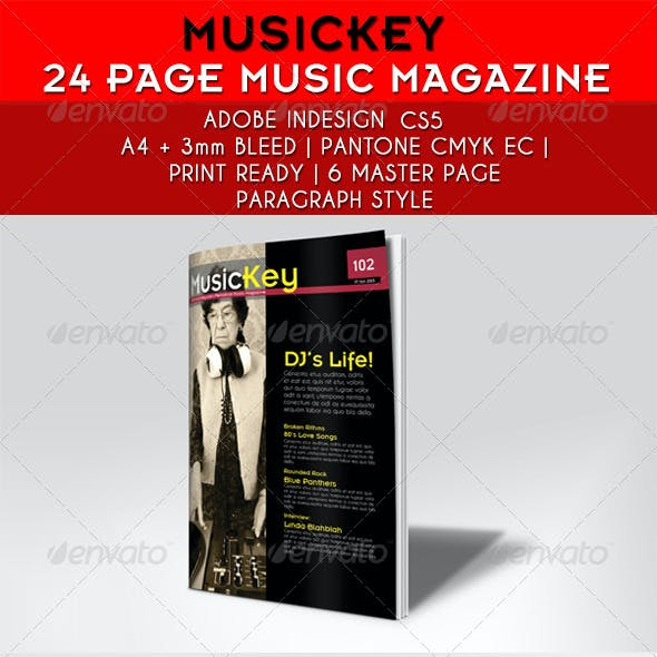 24 Pages Musickey Music Magazine Template