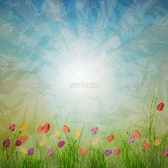Summer Abstract Background with grass and tulips a