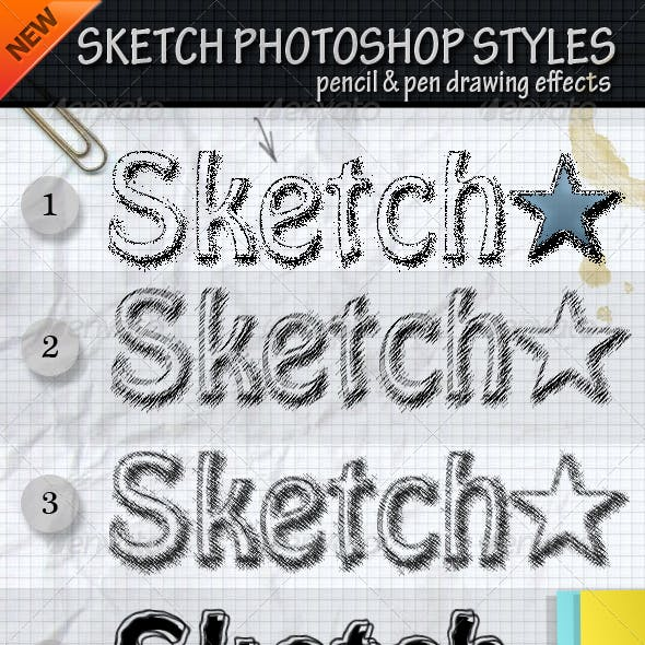 Sketch Photoshop Styles with PSD File