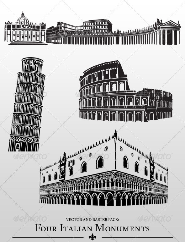 Italian Monuments - Buildings Objects