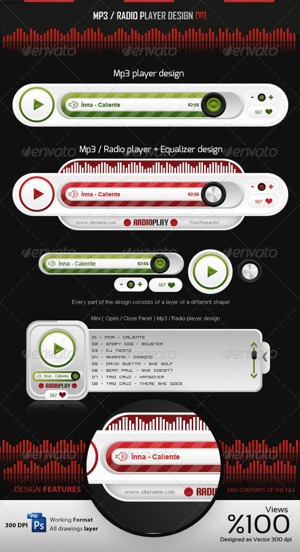 MP3 - Radio Player Design v1 - User Interfaces Web Elements