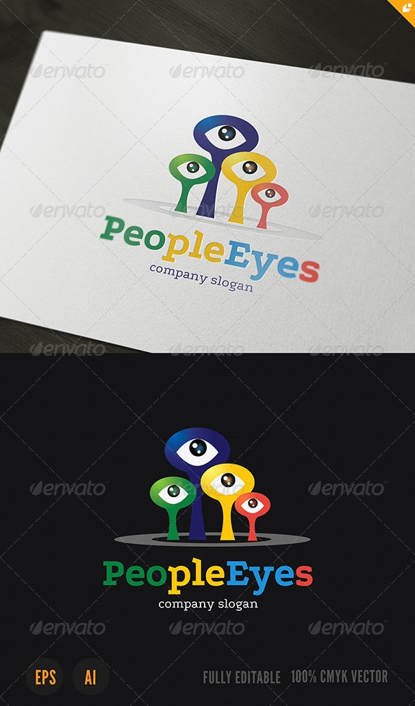 People Eyes Logo - Vector Abstract