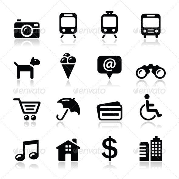 Travel Tourism and Transport Icons Set