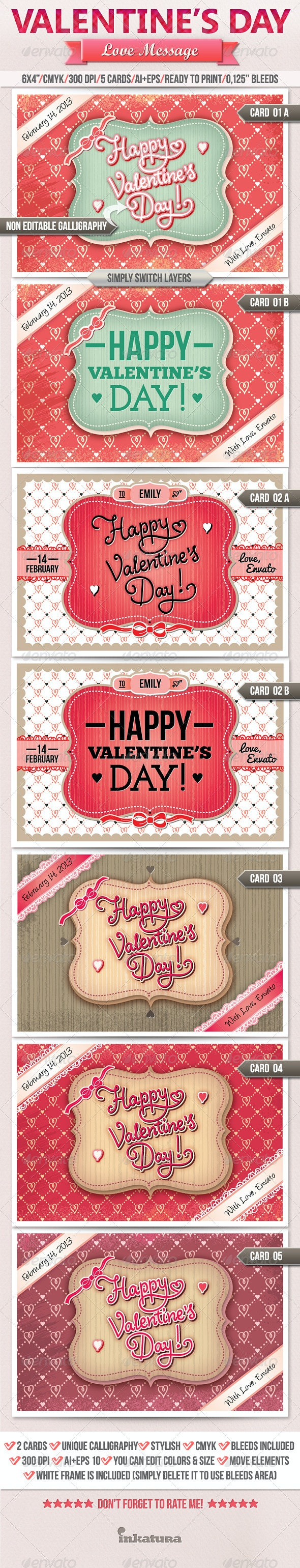 Love Message Valentine's Day Greeting Card - Cards & Invites Print Templates