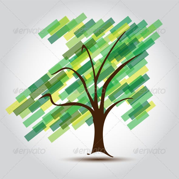 Green tree with Arrow UP of growing Business
