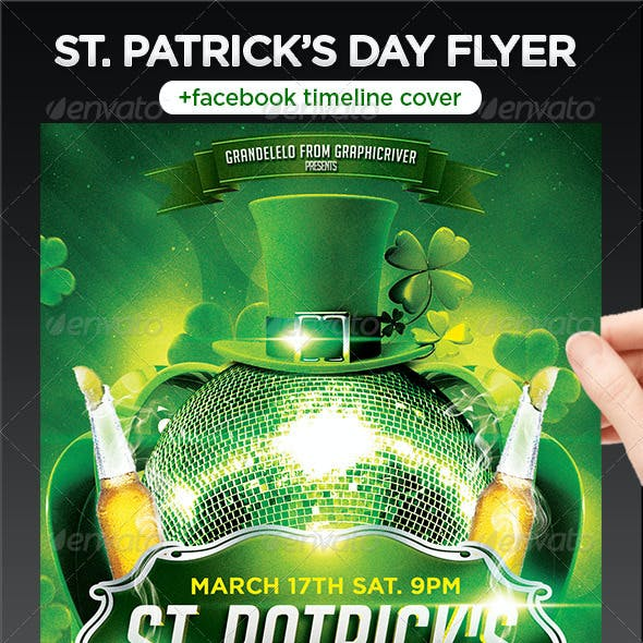 St. Patricks Flyer Template + Facebook Timeline