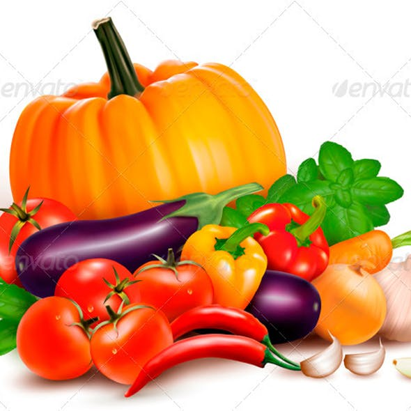 Fresh Vegetables. Healthy Food. Vector