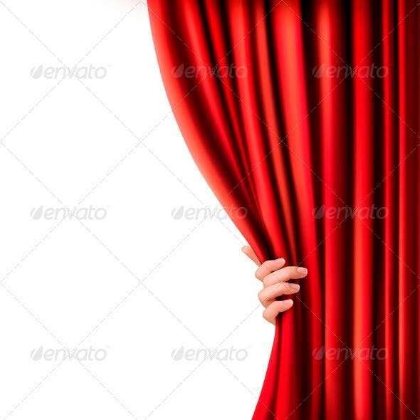 Background with Red Velvet Curtain and Hand