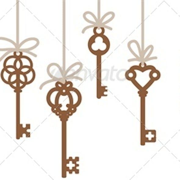 Hanging Antique Skeleton Keys