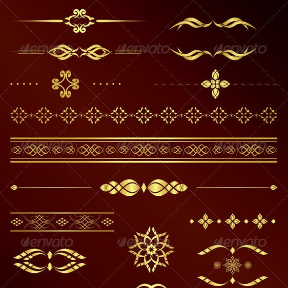 Gold Vintage Elements for Design