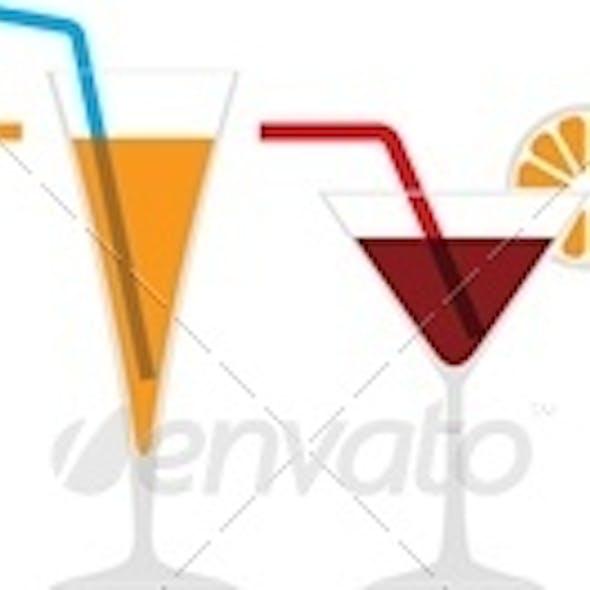 Seamless Horizontal Border of Various Cocktails